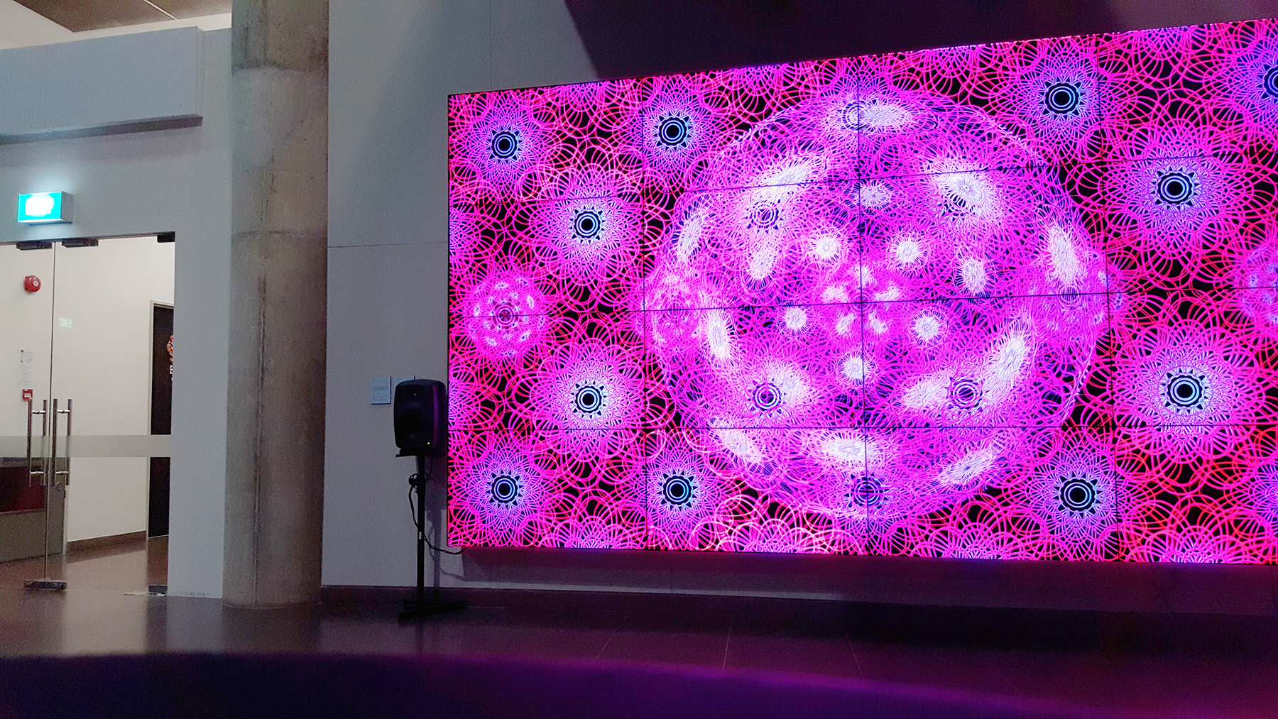 "Installed on a 4K display array in the School of Art, Design and Media, Main Lobby for the Society of Animation Studies Annual Conference entitled ""The Cosmos of Animation"" in June 2016."